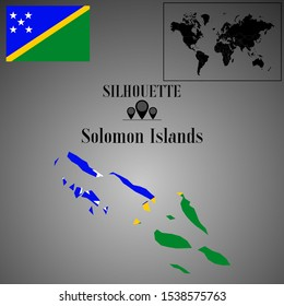 Solomon Islands outline world map silhouette vector illustration, creative design background, national country flag, objects, element, symbols from countries all continents set.