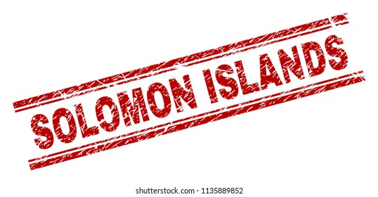 SOLOMON ISLANDS stamp seal watermark with distress style. Red vector rubber print of SOLOMON ISLANDS text with grunge texture. Text tag is placed between double parallel lines.
