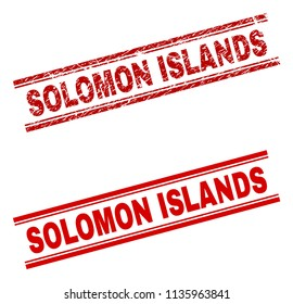 SOLOMON ISLANDS stamp seal watermark with distress and clean styles. Red vector rubber print of SOLOMON ISLANDS caption with grunge texture. Text caption is placed between double parallel lines.