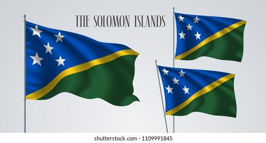 The Solomon Islands waving flag set of vector illustration. Green blue colors of Solomon Islands wavy realistic flag as a patriotic symbol