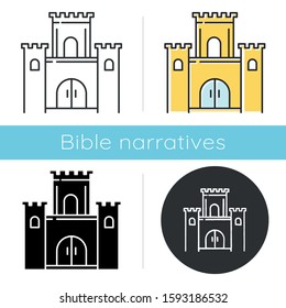 Solomon temple Bible story icon. Jerusalem king castle. Worship building. Religious legend. Holy book scene. Biblical narrative. Glyph, chalk, linear and color styles. Isolated vector illustrations