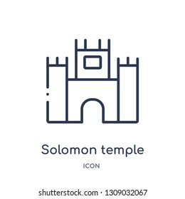 solomon temple in jerusalem icon from religion outline collection. Thin line solomon temple in jerusalem icon isolated on white background.