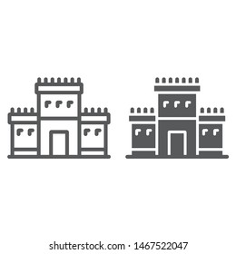 Solomon temple in jerusalem line and glyph icon, religion and hebrew, jewish tabernacle sign, vector graphics, a linear pattern on a white background, eps 10.