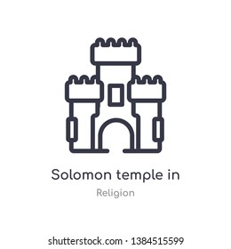 solomon temple in jerusalem outline icon. isolated line vector illustration from religion collection. editable thin stroke solomon temple in jerusalem icon on white background