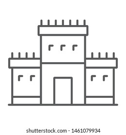 Solomon temple in jerusalem thin line icon, religion and hebrew, jewish tabernacle sign, vector graphics, a linear pattern on a white background, eps 10.