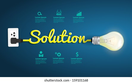 Solution concept modern design template, Creative light bulb idea abstract infographic workflow layout, diagram, step up options, Vector illustration