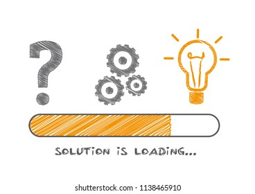 Solution Concepts and problem solving in progress. Vector Doodle illustration