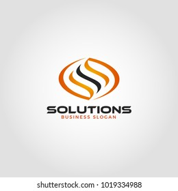 Solution is an energy Logo with letter S concept tranform become a fire