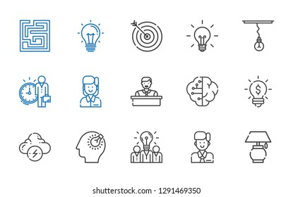 solution icons set. Collection of solution with lamp, employee, idea, bulb, brainstorm, brain, target, labyrinth. Editable and scalable solution icons.