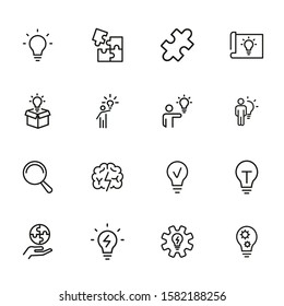 Solution line icon set. Bulb, puzzle, brain. Idea concept. Can be used for topics like business, startup, project, innovation