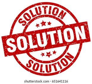 solution round red grunge stamp