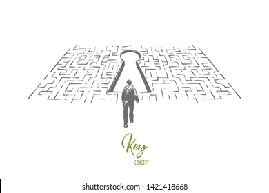 Solution searching, man finding exit in labyrinth, difficult and complicated situation, challenge metaphor. Person looking for answers, solving problem concept sketch. Hand drawn vector illustration