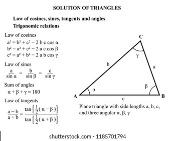 Solution of triangles. Law of cosines, sines, tangents and angles. Vector illustration