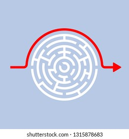 Solution vector icon. Circular maze with red arrow bypassing the solution. Modern simple flat style design for graphic and web design