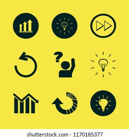 solution vector icons set. with reload arrow, growing graph, bulb and ask pupil in set