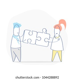 Solutions concept, compatibility, compound, teamwork, partnership. Cute cartoon people assemble puzzle pieces, solving problem illustration. Flat line style, ui element for web and mobile design.