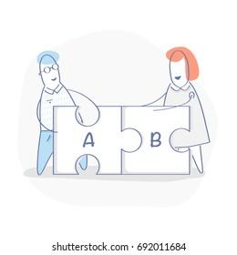 Solutions concept, compatibility, compound, teamwork. Cute cartoon people assemble puzzle pieces, solving problem illustration. Flat line style, ui element for web and mobile design.