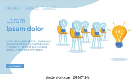 Solutions to Each Specific Task with Help an Idea. In Audience on Chairs Sit Dimming Bulbs and Listening to Large Burning Bulb. Transfer own Energy to Others, Slide. Vector Illustration.
