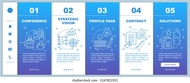 Solutions searching onboarding mobile web pages vector template. Conference, strategic vision, profile page, contract, solutions. Responsive smartphone website interface. Webpage walkthrough screens