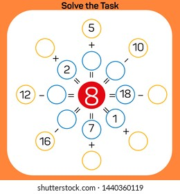 Solve the task - Math lesson Addition and Subtraction activity Vector