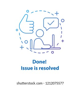 Solved problem concept icon. Resolved issue. Done idea thin line illustration. Successfully completed. Vector isolated outline drawing