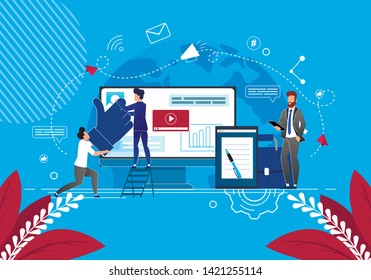 Solving Business Problems in Social Networks. Vector Illustration Blue Background. Content Managers Collect Material for News Feed. Man Business Suit Reads Information from Tablet Screen.