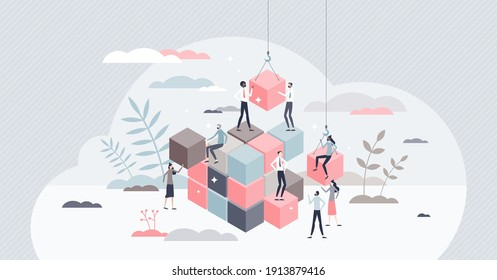 Solving problem and difficult work teamwork assemble tiny persons concept. Effective business solution strategy and complex task cooperation as successful performance process vector illustration.