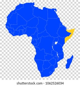 Somali. Blue. Accurate map of the African continent in high resolution with the borders of States.
