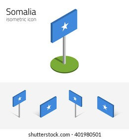 Somali flag (Federal Republic of Somalia), vector set of isometric flat icons, 3D style, different views. Editable design elements for banner, website, presentation, infographic, poster, map. Eps 10