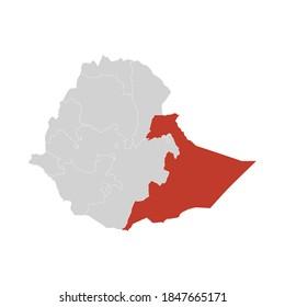 Somali Highlighted on Ethiopia Map Eps 10