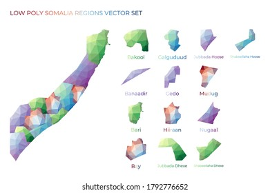 Somali low poly regions. Polygonal map of Somalia with regions. Geometric maps for your design. Neat vector illustration.