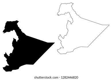 Somali Region (Federal Democratic Republic of Ethiopia, Horn of Africa, Regions and chartered cities of Ethiopia) map vector illustration, scribble sketch Somali Regional State map