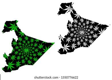 Somali Region (Federal Democratic Republic of Ethiopia, Horn of Africa) map is designed cannabis leaf green and black, Somali Regional State map made of marijuana (marihuana,THC) foliage