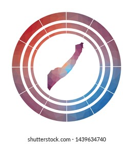 Somalia badge. Bright gradient logo of country in low poly style. Multicolored Somalia rounded sign with map in geometric style for your infographics.