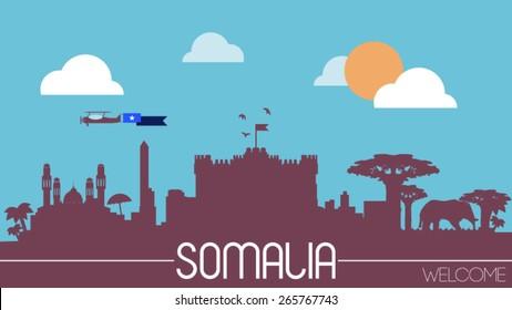 Somalia city skyline silhouette flat design vector illustration