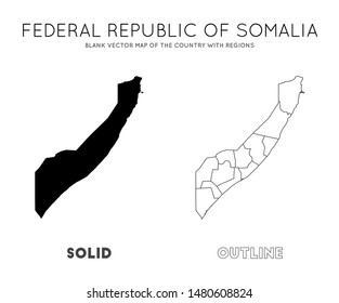 Somalia map. Blank vector map of the Country with regions. Borders of Somalia for your infographic. Vector illustration.