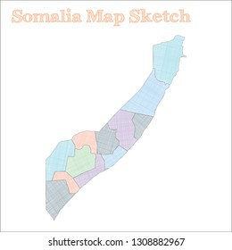 Somalia map. Hand-drawn country. Vector illustration.