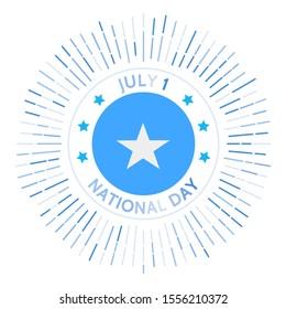 Somalia national day badge. Union of the Trust Territory of Somalia and British Somaliland to form the Somali Republic. Celebrated on July 1.