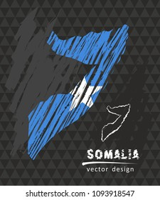 Somalia national vector map with sketch chalk flag. Sketch chalk hand drawn illustration