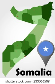 Somalia political map with green shades and map pointer.