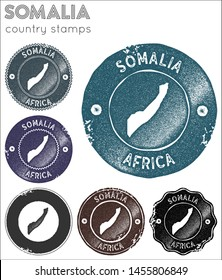Somalia stamps collection. Rubber stamps with country map silhouette. Vector set of Somalia logo.