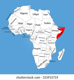 Somalia vector map silhouette isolated on Africa map. Editable vector map of Africa.