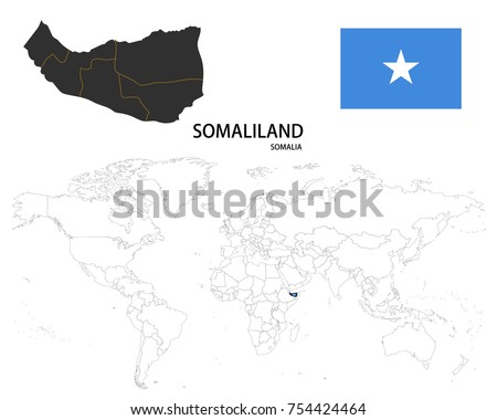 World Map Somolia.Somaliland Somalia Map On World Map Stock Vector Royalty Free