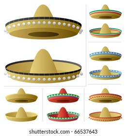 Sombrero in 2 positions and 6 color variations.