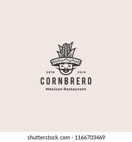 sombrero hat corn mexican restaurant logo mascot hipster vintage retro character cartoon illustration