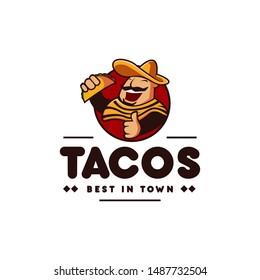 sombrero hat mexican holding tacos mexican restaurant logo mascot hipster vintage retro character cartoon illustration