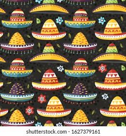 Sombrero hat Mexican vector background. Cartoon flat seamless pattern. Cinco de mayo fiesta symbol.