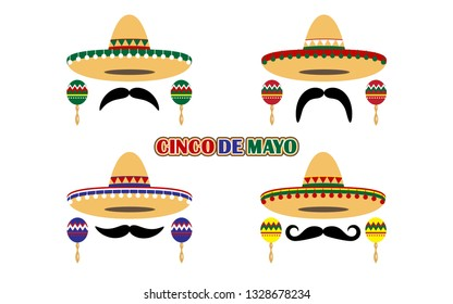 Sombrero Hat, Mustache, Maraca and Cinco De Mayo Text of Mexican Holiday Festive Signs Icon Set Element Culture. Vector illustration of Traditional Mexico Hats Icons