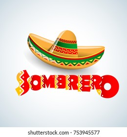 Sombrero Hat vector illustration. Mexican hat on white background. Masquerade or carnival costume headdress