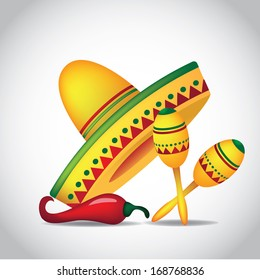 Sombrero, maracas and jalapeno. EPS 10 vector, grouped for easy editing. No open shapes or paths.